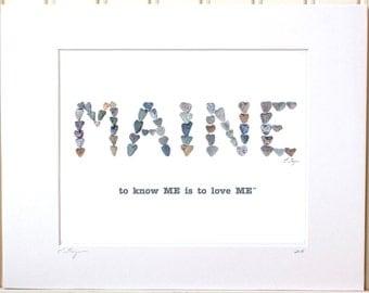 Maine print, Maine art, Maine gifts, Maine made gifts, Maine decor, Maine print, Maine poster, Maine souvenier, Maine wall art, heart rocks