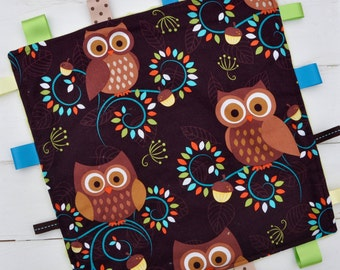 Tag / Lovely Blanket - Ribbon Blanket - Hooty Hoot Forest Owls with Apple Green Minky