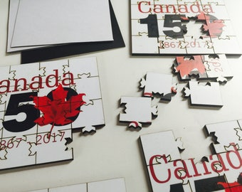 Canada 150 Puzzle Coasters | Convert to Fridge Magnets | Unique Laser-Cut | Wooden | Fathers Day Gift for the Man Cave