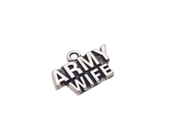 1 pc Army wife charm, Army Wife pendants, Military Jewelry, Military Gifts, Army charms, jewelry Making supplies, DIY, Army Wives