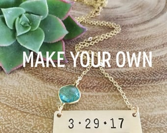 Customizable Date Gold Fill Stamped Bar Necklace Personalized Wedding Anniversary Bridesmaids Mothers Day