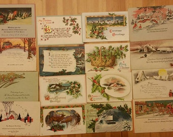 Beautiful vintage/antique christmas time holiday new years post cards from the thirities.  Group C