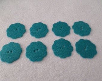 "8 Felt flower buttons, teal, 1 3/4"", for embellishing, sewing, quilting, needlecrafts"