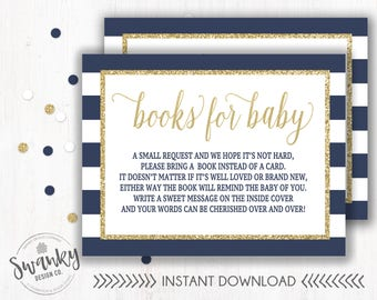 Books for Baby Navy and Gold, Book Request, Bring a Book Instead of Card, Navy Book Insert, Navy and Gold Baby Shower, Instant Download