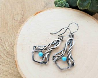 Silver dangle earrings with blue pearls Swarovski - Wire wrapping earrings - Elvish jewelry -  Bridal earrings - Romantic gift for women