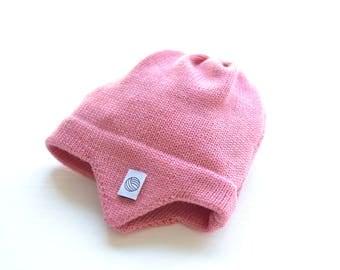 Rosa Baby Mütze mit Ohrenklappen, Fliegermütze, 100 % weiches Merino Garn