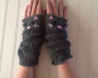 Cutest Mitts Ever - Adorable Kitty Cat Extra Long Fingerless Gloves Hand-Knit in Gray Grey with Pink