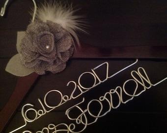 Rustic personalized bride hanger/Ivory burlap flower/wedding hanger/Bride/Name hanger