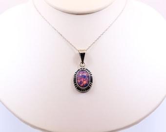 Vintage Sterling Silver Jelly Opal Pendant Necklace