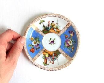 Vintage Ring Dish, Floral Ring Dish, Flower Ring Dish, Blue Ring Dish, Scenic Ring Dish, Floral Trinket Dish, Blue Trinket Dish Blue Jewelry