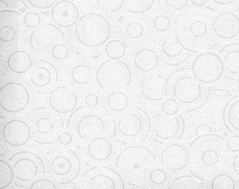 White on white fabric by the yard - tone on tone fabric - white swirl fabric - white circle fabric #16541