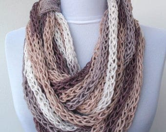 Scarf necklace, Loop scarf, Infinity scarf, Neck warmer, Hand knitted scarf, Cashmere scarf, in cream, grey, brown, white E051