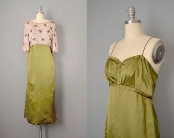 60s Dress // 1960s Olive Silk Satin Dress w/ Matching Rhinestone and Sequin Top // S-M