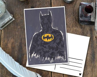 Batman - Postcard with Illustration, batman black yellow hero art