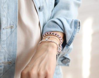 Chain bracelet with flower ribbon handmade in Montreal