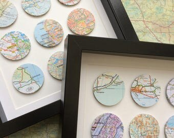 Circle map art - custom map art - personalized map art - travel gift - framed art - anniversary gift - 9 circles - wall art - travel gift