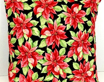 Poinsettia Christmas Pillow Cover