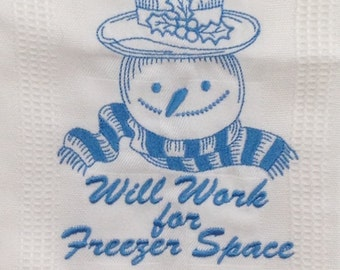 Snowman Will Work for Freezer Space Embroidered Bamboo Hand Towel - White