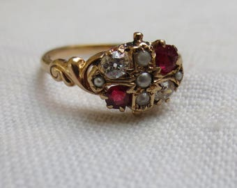 VICTORIAN  ROSE GOLD -  diamonds, rubies, seed pearls absolutely beautiful ring
