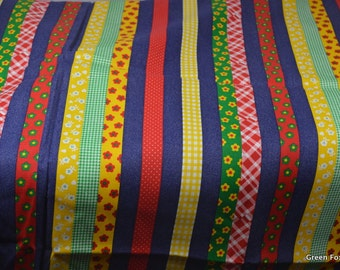 Vintage Cotton Colorful Stripe Twill