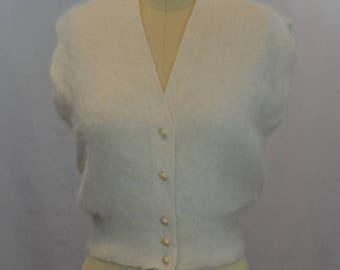 Angora Hair Button Front Vest