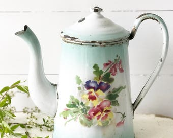 Reserved. A beautiful antique French enamel coffee pot with floral detail