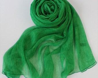 Emerald Green Ruched Silk Chiffon Scarf - Ruched Emerald Green Silk Scarf - Emerald Green Ruched Mulberry Silk Chiffon Scarf-2017R