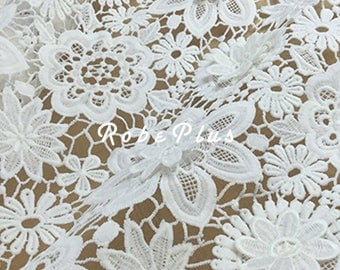 White floral appliqué lace fabric- 3D Floral Applique Lace Fabric - White Floral Lace - L279