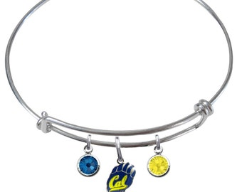 California Golden Bears Wire Charm Expandable Bangle Bracelet w/ Blue & Gold Crystal Rhinestone Gem Charms