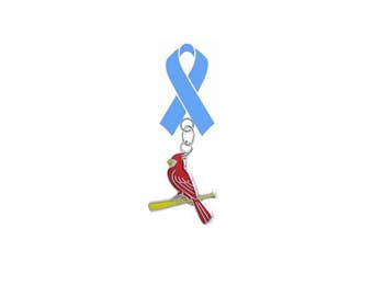 St Louis Cardinals Style 3 Prostate Cancer Awareness Fathers Day LAPEL PIN Light Blue Ribbon
