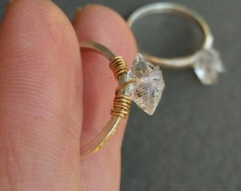 Herkimer Diamond Ring, Sterling Silver & 14k Goldfill Mixed Metal, Engagement Ring, Promise Ring, Solitaire,