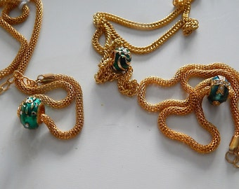 Pugster Fabrege Egg Charms on Gold Necklace