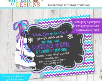 Ice Skate Invitation - Ice Skating Birthday Party - Winter - Printable -