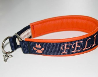 "Train stop collar with name + TelNr ""blue orange"" dog leather dog collar"