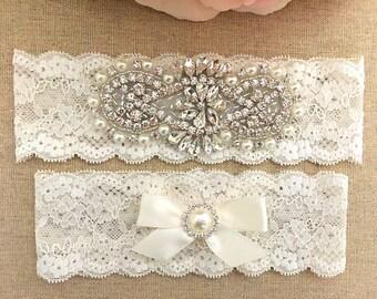 Bridal Garter - Wedding Lace Garter Set - Rhinestone Garter - Pearl Garter - Wedding Garter Belt - Toss Garter - Keepsake Garter