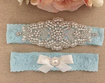 Aqua Wedding Garter - Bridal Garter -Aqua Blue Pearl and Crystal Rhinestone Garter and Toss Garter Set