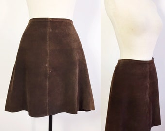 1960s Brown Suede Skirt / Brown Suede Mini Skirt / Vintage A Line Skirt / 1970s Suede Skirt