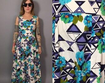 Vintage Maxi Dress / 1960s Maxi Dress / Vintage Hawaiian Dress / Blue Hawaii / Blue Floral Gown / Long Floral Dress / 60s Floral Dress