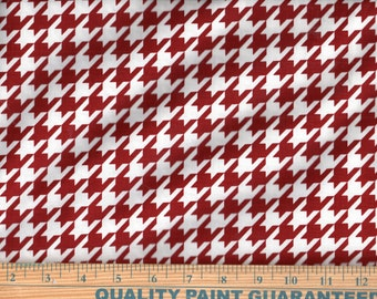 Riley Blake Large Houndstooth Crimson Cotton Quilting Sewing Fabric, BTY #386