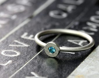 Silver ring point 5 mm with stone point ring, 925 Silver, ring round disc, delicate cubic zirconia ring