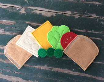 Play Food , Felt Food , Sandwich Play Set , Bread , Swiss , American Cheese , Tomato , Lettuce , Pickles , Sold Individually or as a Set