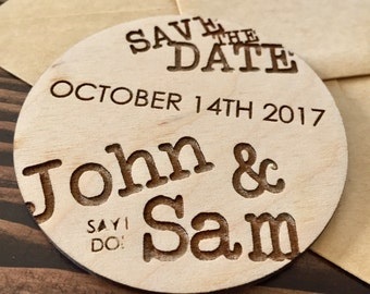 Custom Wood Circle Save The Date Magnets