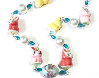 Bunny Necklace with Pearls and Crystals