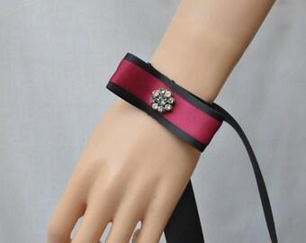 Burgundy and Black Lace Satin Bracelet, Black Lolita cuff bracelet, Gothic Victorian elegant bracelet, Black lace jewelry, Kawaii bracelet