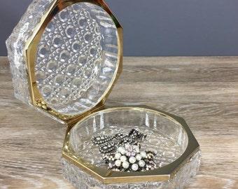 ON SALE Bleikristall Jewelry Box, Vintage Vanity Decor Daisy Button Pattern Crystal Glass Box w/ Gold Rim, West Germany