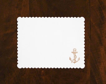 Gold Anchor Embossed Scallop Note - Set of 10