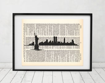 New York Skyline Statue of Liberty Dictionary art print - Upcycled dictionary art - Book print page art #067