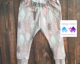 Tribal Feather leggings, feather leggings, girls leggings, children's leggings