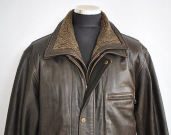 Vintage APOLLO COLLECTION men's leather jacket , men' leather parka .............(261)