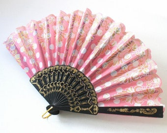 Hand Fans, hand fan, abanico,  dots in rosa,white and gold